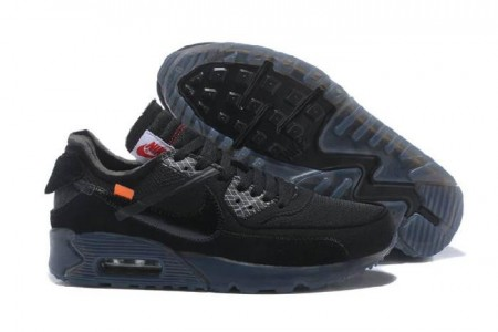Fake OFF-WHITE X Air Max 90 OW All Black Online
