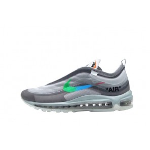 Fake Off-White X Air Max 97 Grey Blue Sneakers for Sale