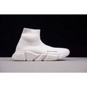 Fake Speed Stretch-Knit White Mid Sneakers