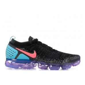 Fake Air Vapormax Flyknit 2 Black Blue Purple With Red Logo
