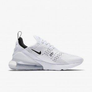 Fake Air Max 270 White Sneaker Black Logo White And Black Sole for Sale Online